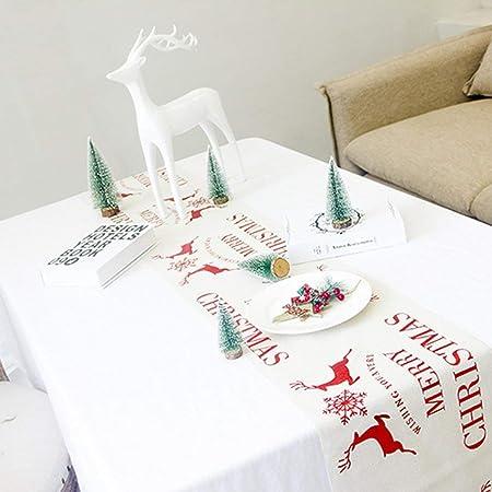 SEN Mantel de Lino y algodón de Navidad Manteles Decorativos de Navidad Cubiertas de Copos de Nieve Blancos: Amazon.es