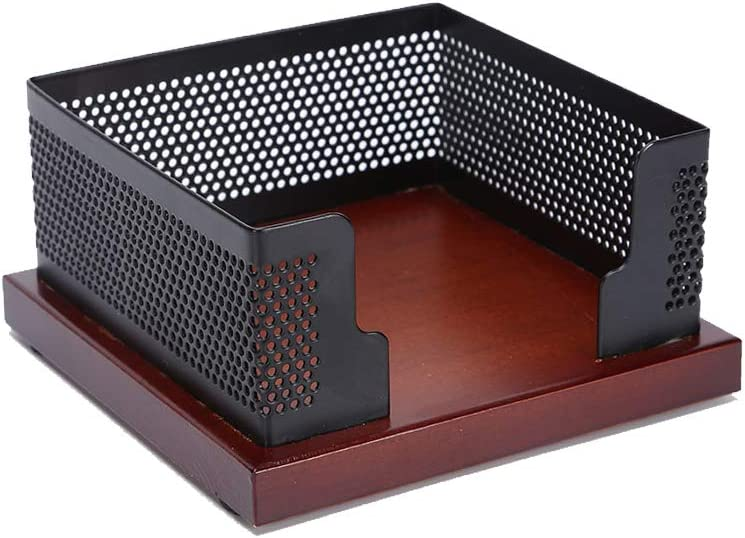 Multibey Sticky Note Pads & Memo Paper Holder, Wooden Base Black Mesh Cube Dispenser for Office Desk Collection Organizer (Nut Brown)
