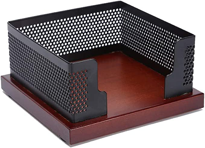 Sticky Note Box 3.1x4.1 Inch Black Metal Mesh Memo Holder Card Stand Organizer for Office Home Schools Desk Supplies
