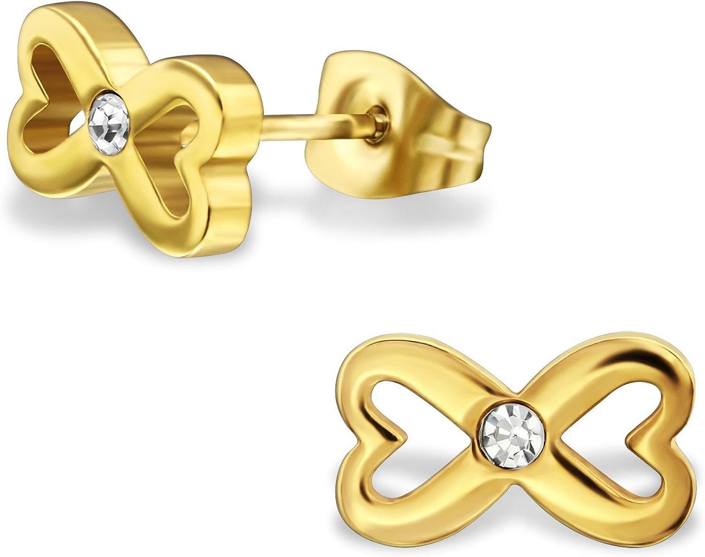 Pendientes en acero quirúrgico 316L–dorado–infinito y corazón–cristal transparente
