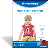 "Printworks Dark T-Shirt Transfers for Inkjet Printers, For Use on Dark and Light/White Fabrics, Photo Quality Prints, 5 Sheets, 8 ½"" x 11"" (00529)"