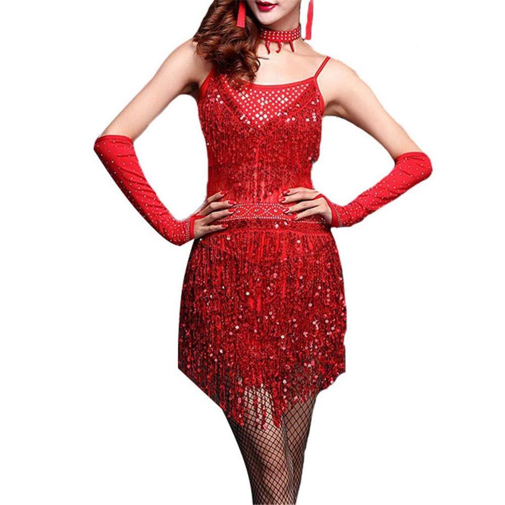Rouge Robes de danse latine pour femmes Femmes Paillettes Brillantes Tassel Robe De Danse Latine Outfit Sans Manches Perlée Frange Flapper Robe Adulte Ballroom Dancewear Stage Perforhommece Costumes De Danse M