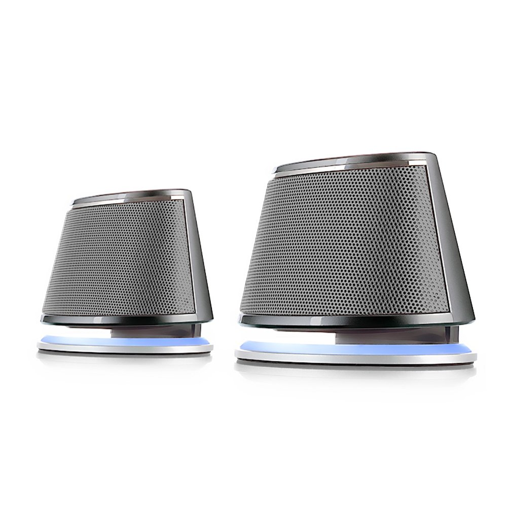 Satechi Dual Sonic Speaker 2.0 Channel Computer Speakers - Compatible with iMac, 2015 MacBook Pro, MacBook Air, Dell, HP XPS, Sony, Samsung, Asus and more (Silver) ST-U620S