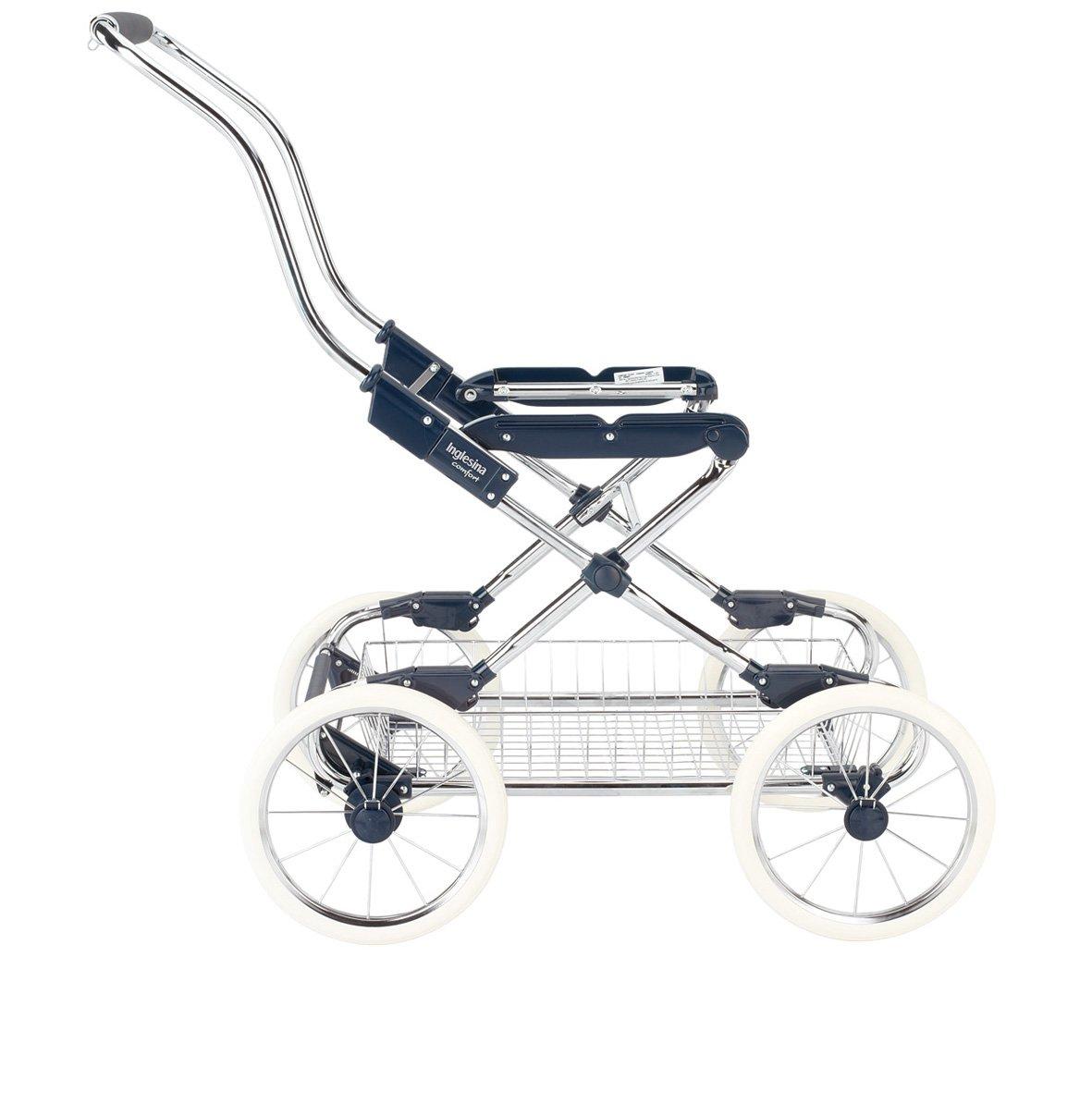 Inglesina AE10G1000 Vittoria Kinderwagengestell Comfort inklusive Einkaufskorb chrome//blau Griff aus echtem Leder mit Haken f/ür Taschenbefestigung Made in Italy hochwertige Verarbeitung