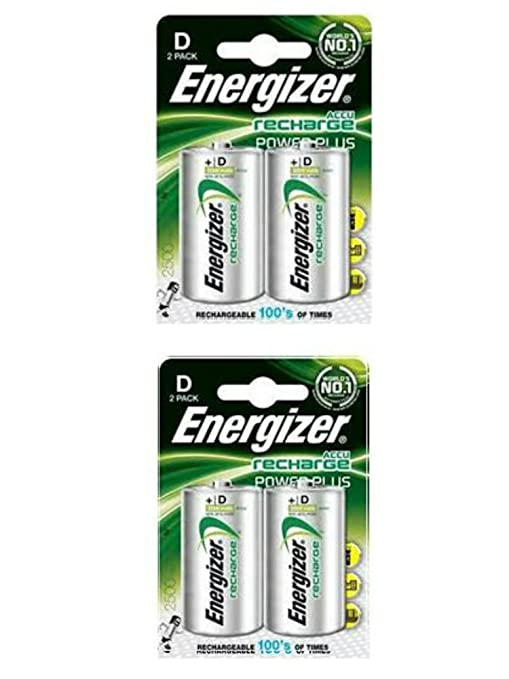 2 x Tamaño de Energizer Plus D pilas recargables 2500 mAh 1 ...