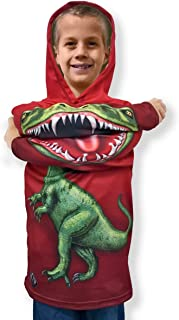 product image for ComputerGear Boys Dinosaur Chompster Hoodie Sweatshirt Raptor T Shirt Dino Costume Outfit for Kids Girls