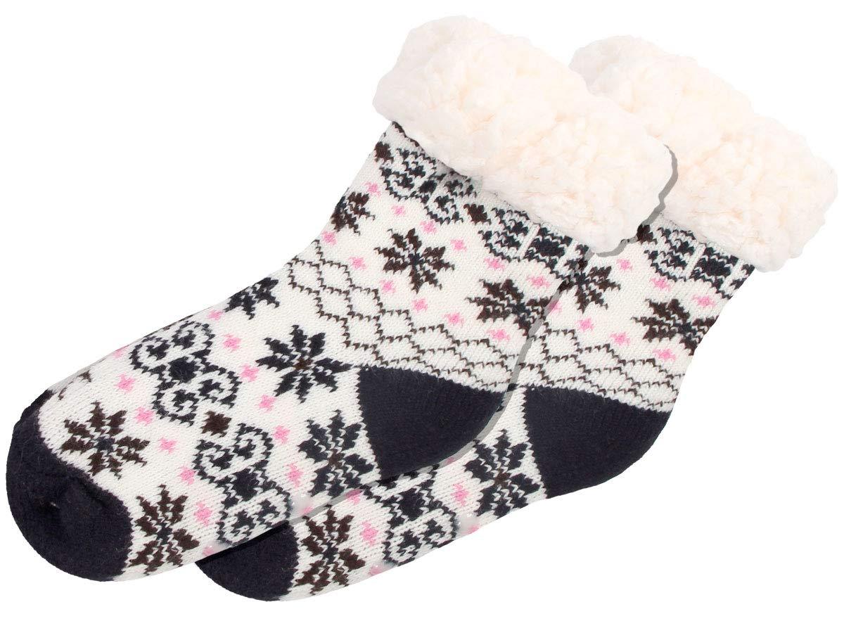 SO-W-106-1 wei/ß Rot Pink Trend-world Chaussettes antid/érapante pour Enfant Taille Unique 25-30 Fille gar/çon Confortables Contre Les Pieds froids