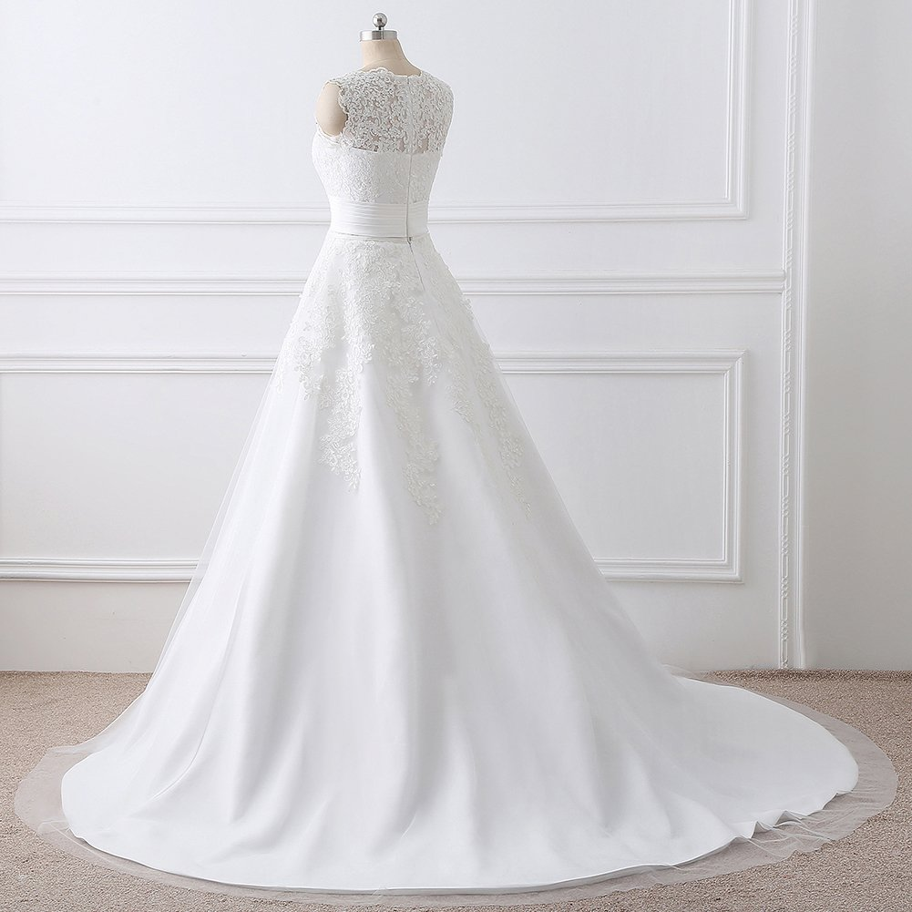 Elley Womens A Line Lace Applique Empire Floor Length Sleeveless Wedding Dress Bridal Gown with Detachable Skirt White US12