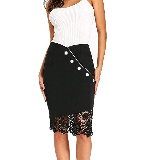 6de57f3cc BaZhaHei Falda Corta de Mujer Vestidos de Mujer Botón de Encaje para ...