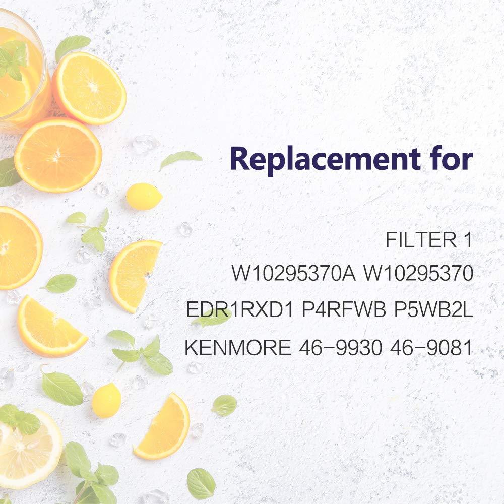 P4RFWB,EDR1RXD1,P8RFWB2L,Pur Filter 1 Kenmore 46-9930 Kenmore 46-9081 Water Filter Cap,3 Pack W10295370A Water Filter Compatible with W10295370