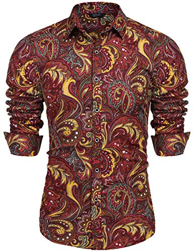 (COOFANDY Men's Floral Print Button Down Casual Long Sleeve Hawaiian Retro Flower Shirt(Red,M))