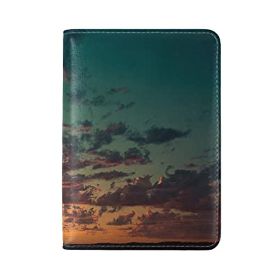 Sea Sky Clouds Leather Passport Holder Cover Case Travel One Pocket