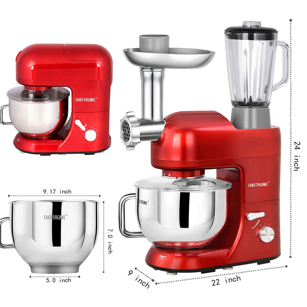 CHEFTRONIC SM1086-Red Standing Mixer Red One Size