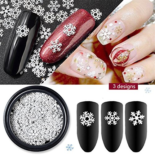 - Mezerdoo 1 Box Christmas Nail Sequins Snowflakes White Color 3D Decal Paillette 3 Designs Mixed Charm Xmas Decoration Nail Glitter Flakes