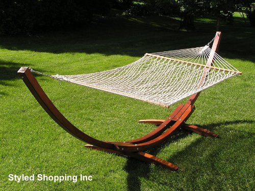 Styled Shopping Deluxe Wood Arc Hammock Stand + Two Person White Soft Polyester Rope Hammock