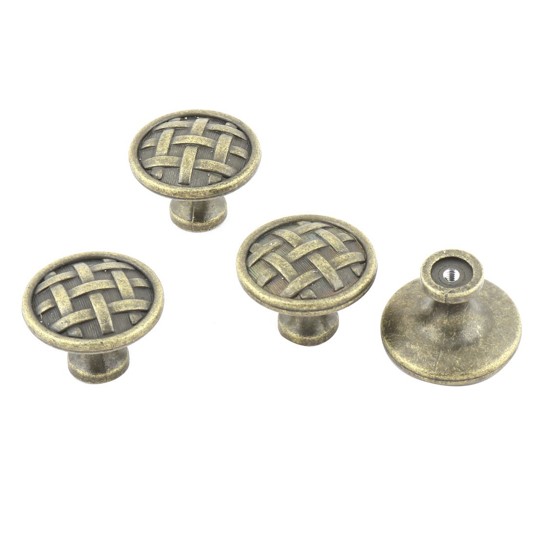 uxcell Metal Home Round Shape Drawer Cupboard Door Handle Pull Knob 4 Pcs Bronze Tone