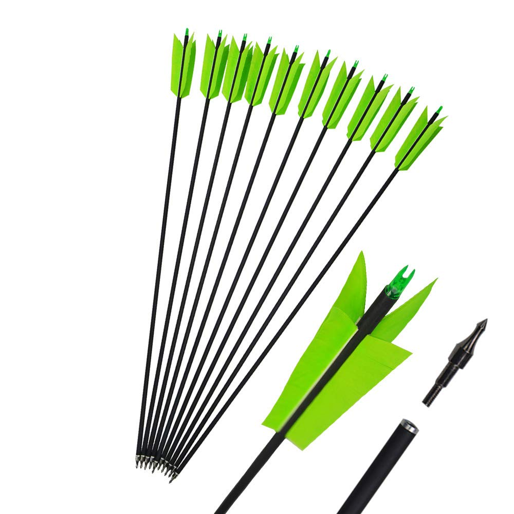 MILAEM 12 Pcs 30 Inch Archery Carbon Arrows Target Practice Flu Flu Arrows Small Game Arrows 4 Feathers Fletching with 100 Grain Judo Arrowheads for Practice Targeting (Green)