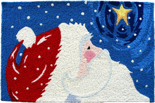 Jellybean Star Gazing Santa Indoor Outdoor Accent Rug