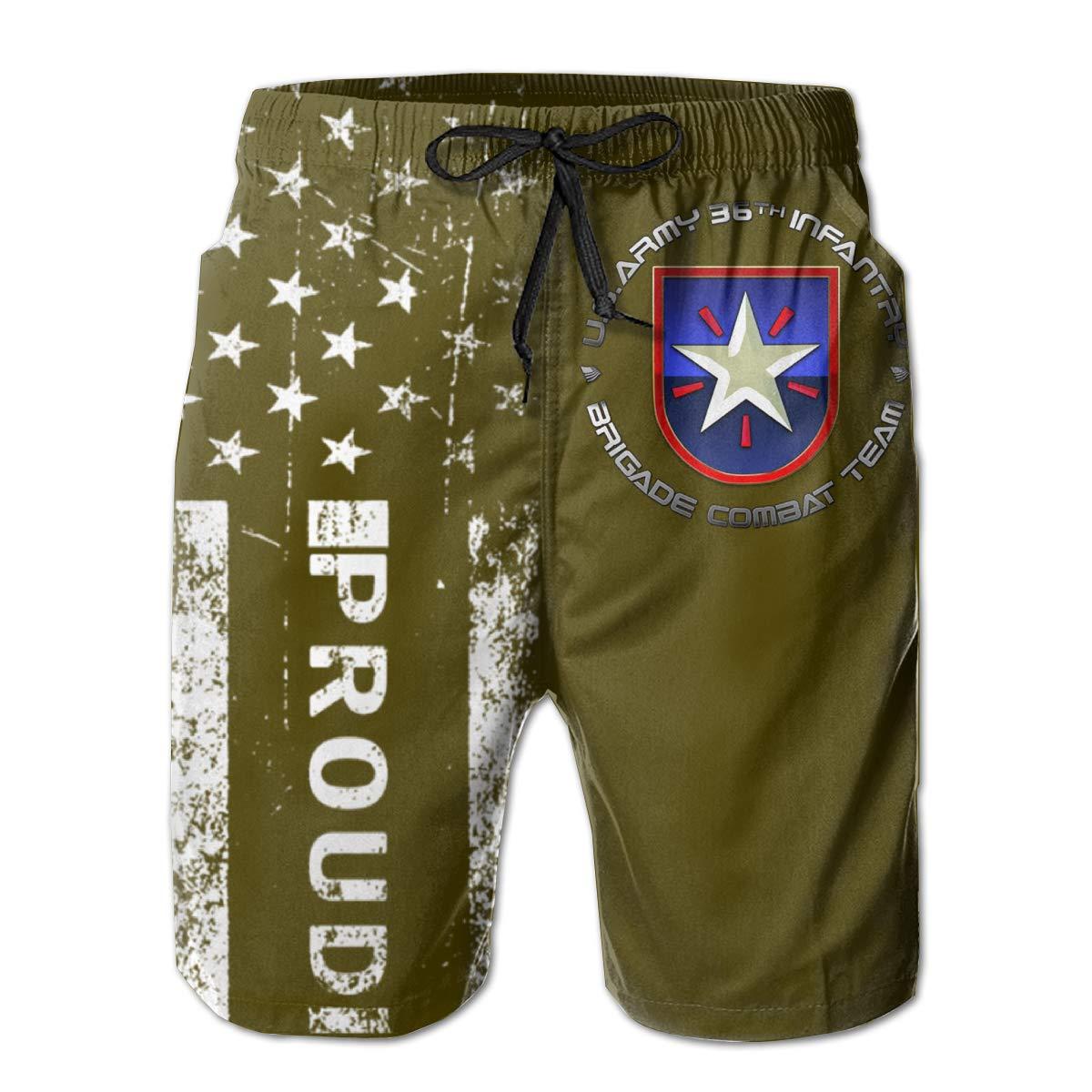 36th Infantry Brigade SSI Mens Boardshorts Swim Trunks Beach Athletic Shorts
