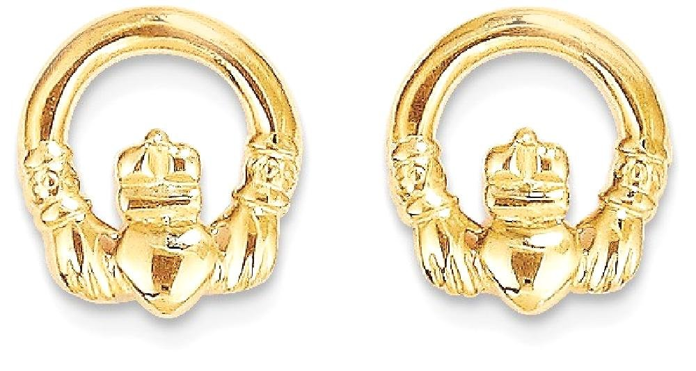 ICE CARATS 14k Yellow Gold Irish Claddagh Celtic Knot Post Stud Earrings Fine Jewelry Gift Set For Women Heart