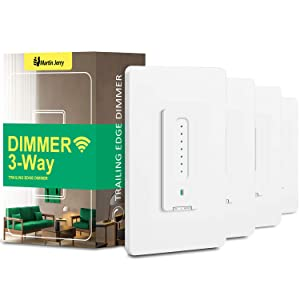 3 Way Smart Dimmer Switch 4 Pack, by Martin Jerry | Touch Trailing Edge Dimmer, SmartLife App, Compatible with Alexa as WiFi Light Switch Dimmer, Works with Google Home