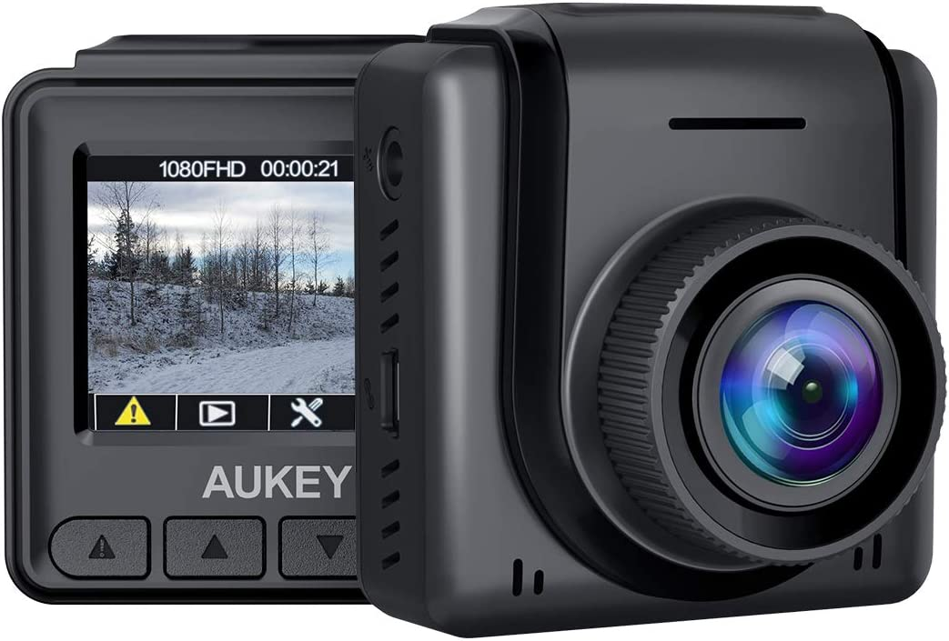 "AUKEY Mini Dash Cam 1080p Full HD Dash Camera with 1.5"" LCD Screen Car Camera with 170° Wide-Angle Lens, Supercapacitor, G-Sensor, WDR, Motion Detection, and Clear Night Recording"