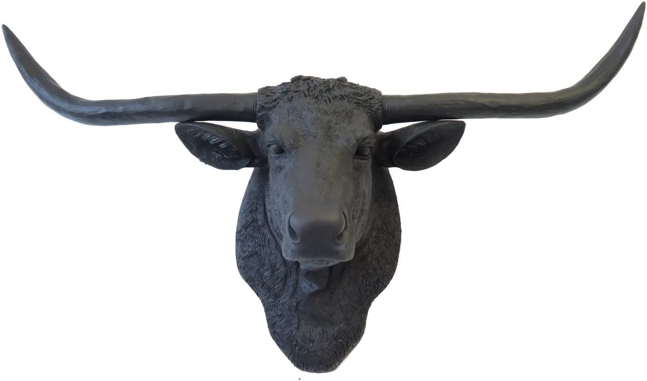 Near and Deer Faux Taxidermy Carved Texas Longhorn Skull Wall Mount, Large, Matte Black