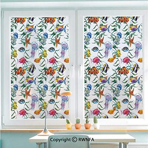 (RWNFA Non-Adhesive Privacy Window Film Door Sticker Tropical Coral Reef with Seaweed Algae Jellyfish Aquatic Saltwater Nemo Theme Glass Film 22.8 in by 35.4in(58cm by 90cm),Multi)