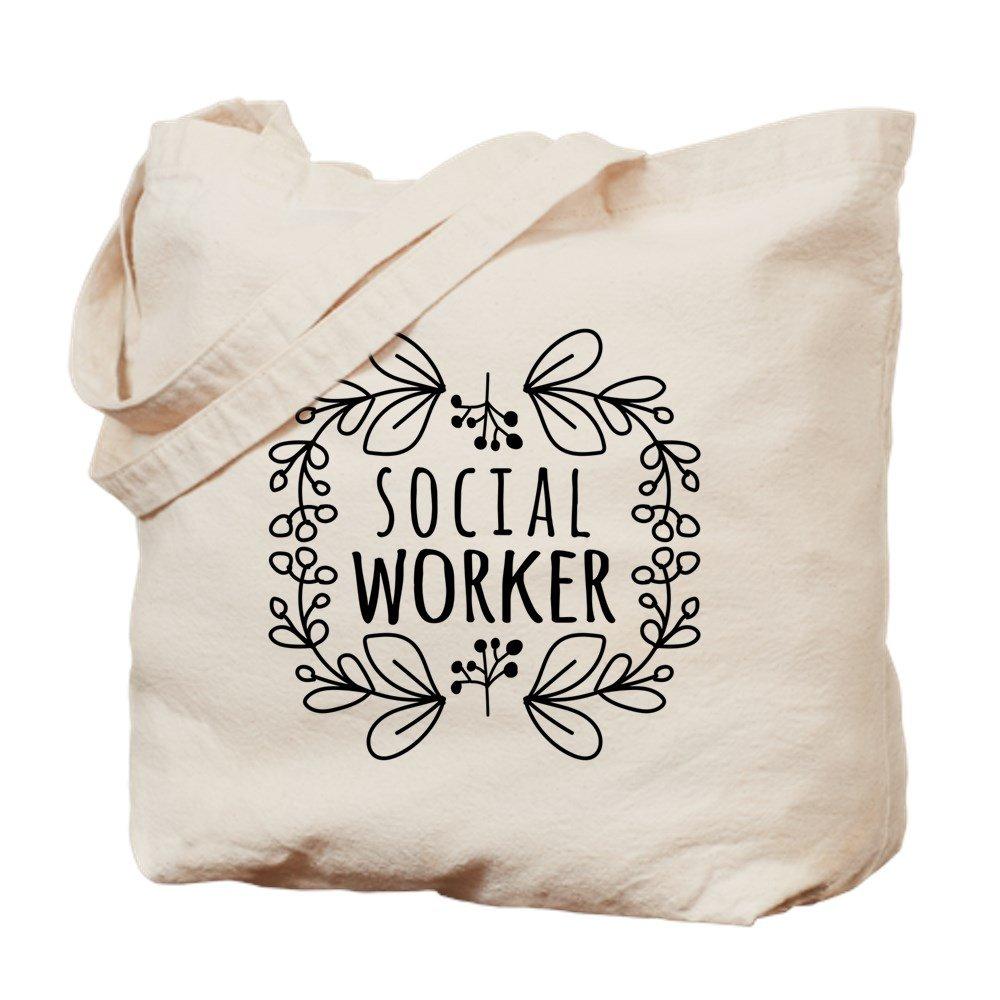 CafePress – 手書き風Wreath Social Worker – ナチュラルキャンバストートバッグ、布ショッピングバッグ M ベージュ 16214279136893C B073QSY3FY MM