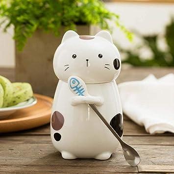 Zhengq Tazas de cerámica del Estilo del Gato Lindo Tapa 3D y la Cuchara Taza Creativa ...