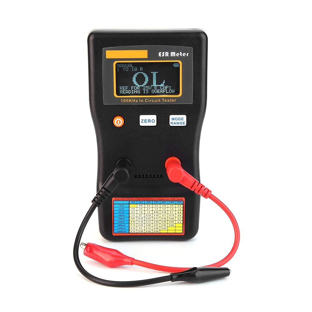 Akozon Probador de circuito de rango automá tico, Medidor de capacitancia de resistencia ESR Ohmmó metro 0.001 a 100R Terminal doble, para reparar TV, LCD, placa de audio