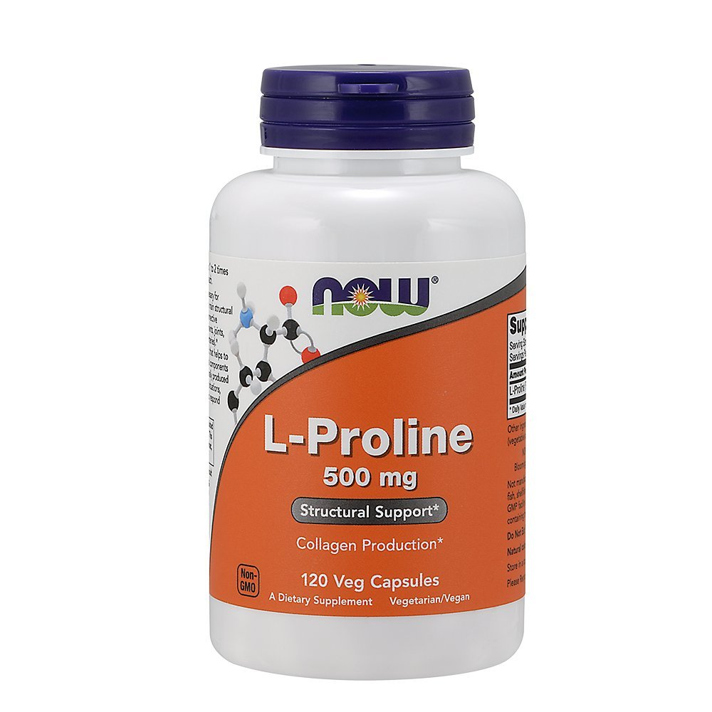 Now Foods L-Proline 500mg, Veg-Capsules, 120-Count (Pack of 2)