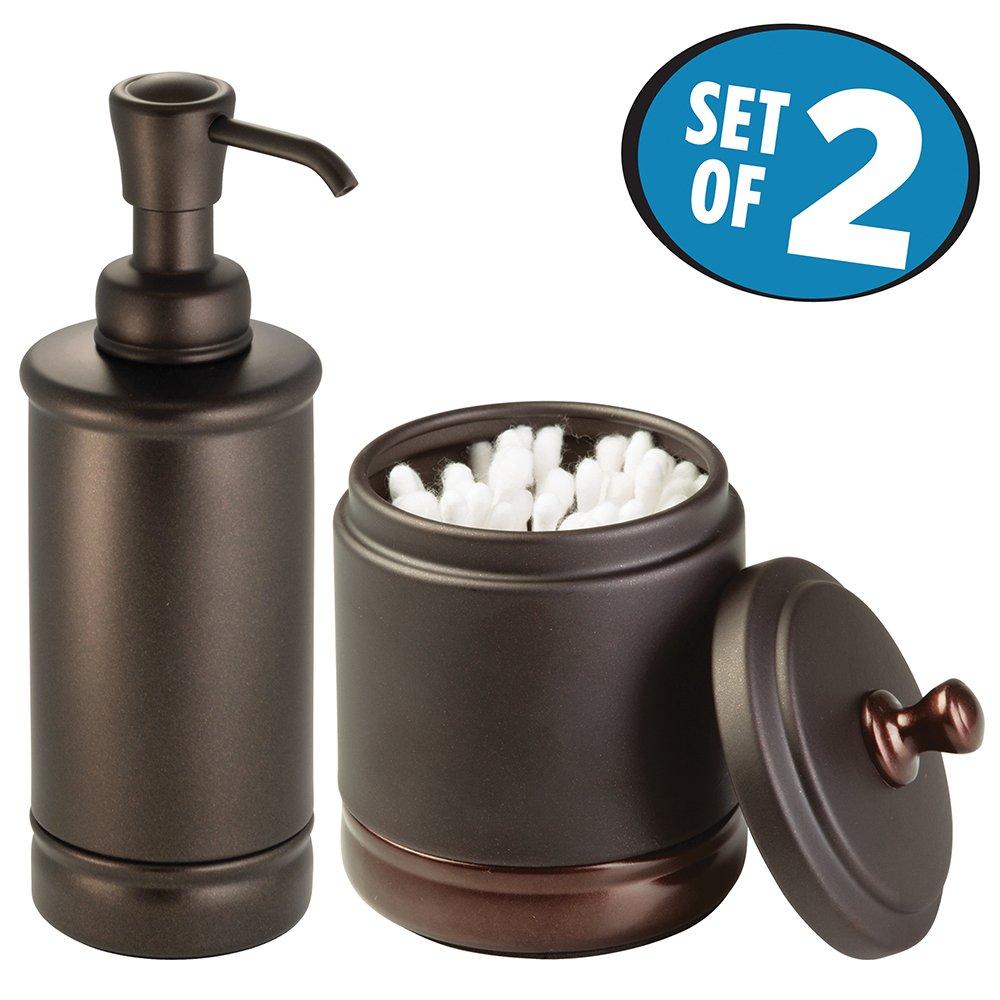 MDesign Bathroom Accessory Set, Soap Dispenser Pump, Canister Jar   Set Of  2   Split Bronze
