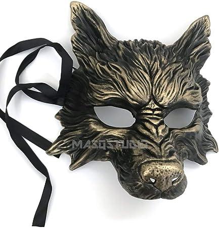 Oro Negro Máscara de lobo Animal Masquerade máscara de Halloween ...