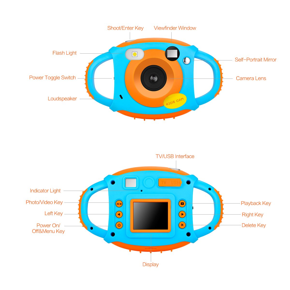 Kids Camera Digital Camera for Kids Digital Video Camera 1.77 HD Color Screen 5 MP Beautiful Camera for Kids by LongOu (Image #6)