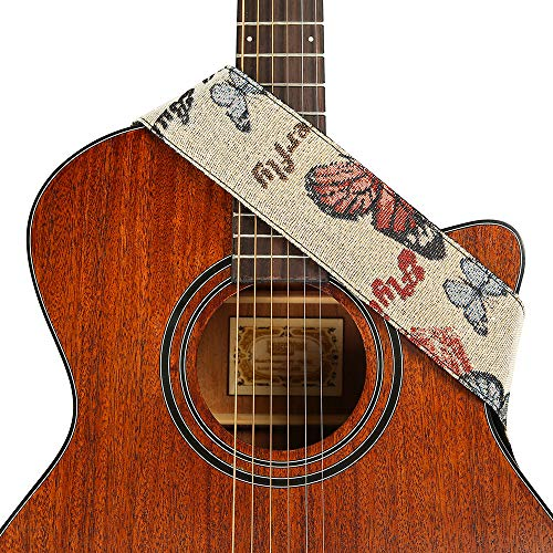 (Heele Music 2.5'' Embroidery Butterfly Pattern Guitar Strap with Leather Ends For Electric Guitar, Acoustic Guitar, Ukulele and Bass)