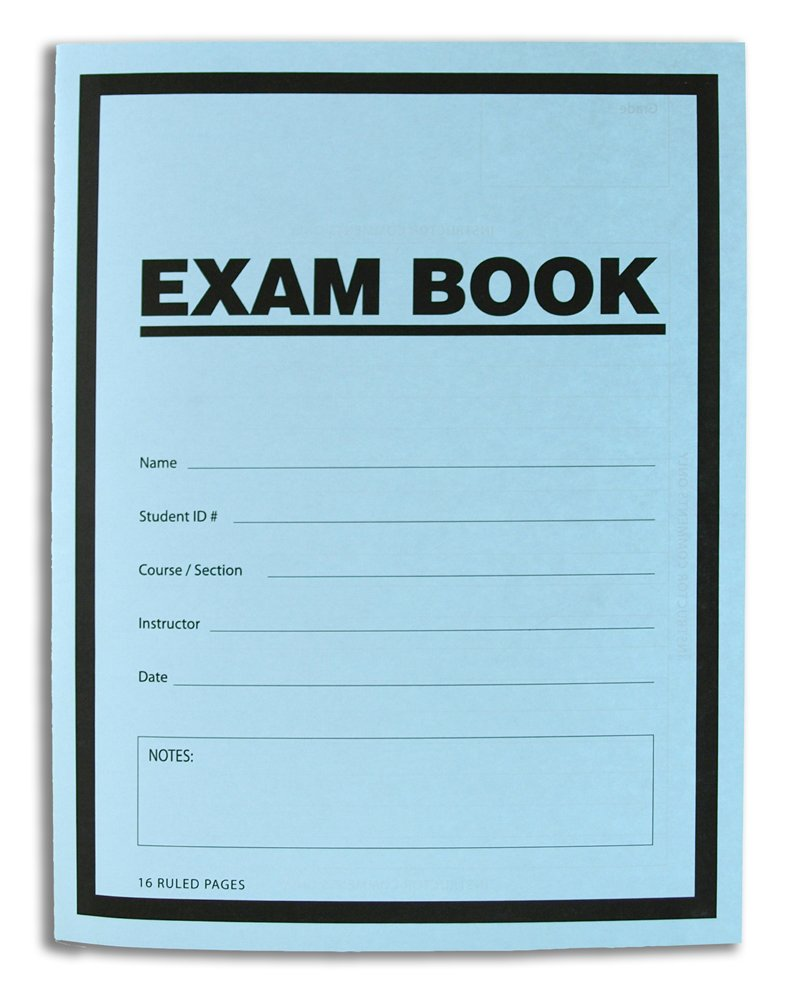 BookFactory Exam Blue Book/Blue Exam Book/Blue Test Book (100 Book Pack) (Ruled Format - 8.5'' x 11'' - 16 Numbered Pages) Saddle Stitched (LAB-016-7RSS (Exam Book) 100 Pack) by BookFactory