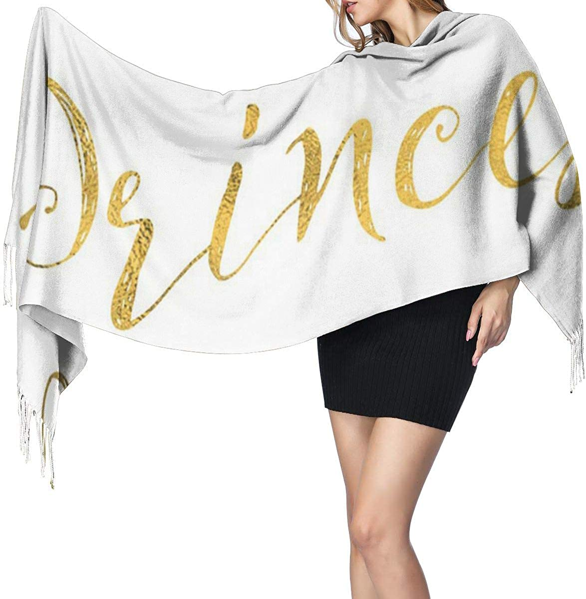 Fashion Lady Shawls,Comfortable Warm Winter Scarfs Soft Cashmere Scarf For Women Glittery Princess Gold Faux Foil Metallic Glitter Inspirational Quote White Motivational