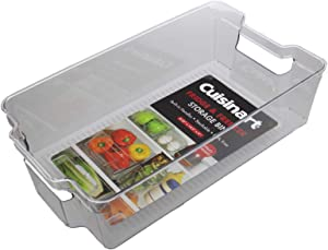 Cuisinart Freezer and Fridge Organizer Bins – Large Plastic Organizer Bin, Measures 8.25 x 14.5 x 4 Inches – Ideal for Storing Fruit and Vegetables – Built-In Handle, Stackable, BPA Free