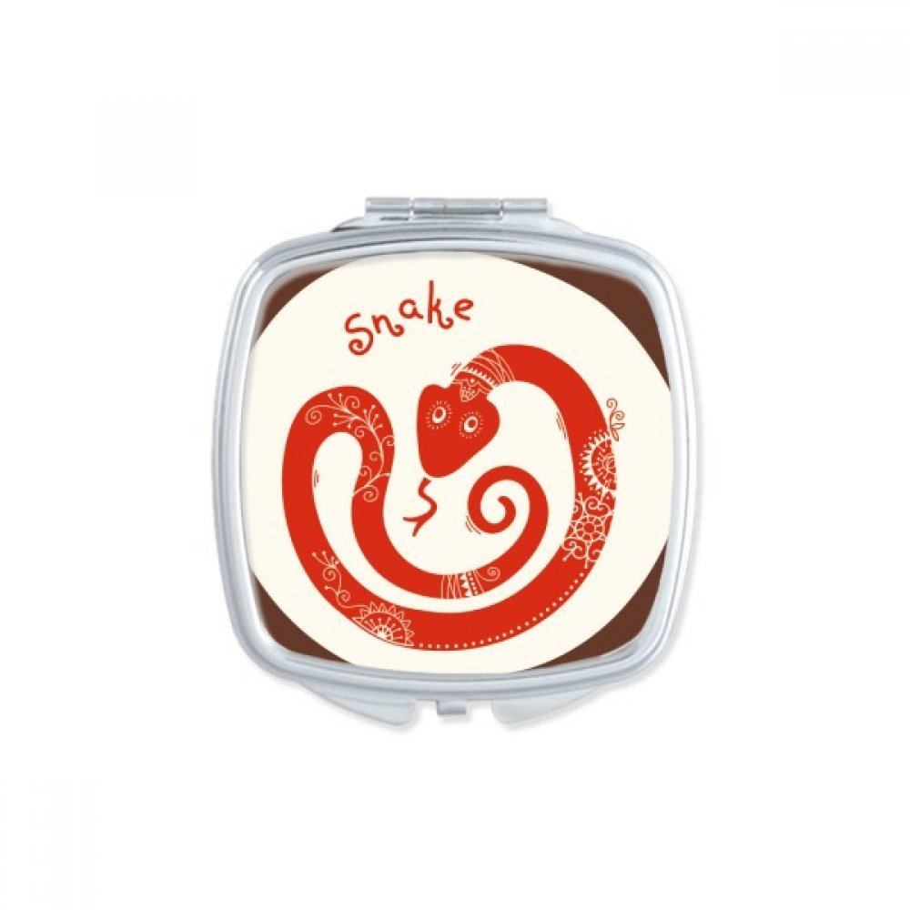 Year Of Snake Animal China Zodiac Red Square Compact Makeup Mirror Portable Cute Hand Pocket Mirrors Gift