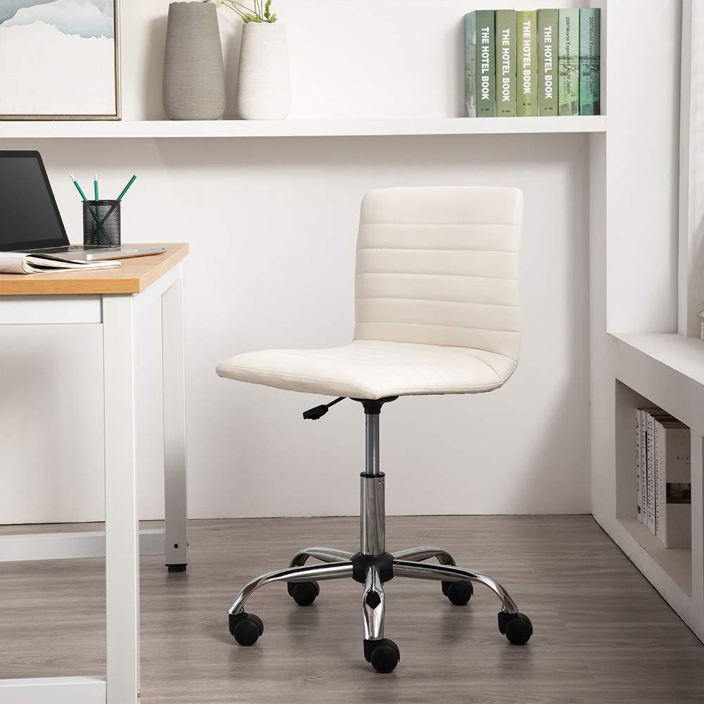 Silla de trabajo moderna Blanco Basics ondulada ajustable sin reposabrazos y con respaldo bajo
