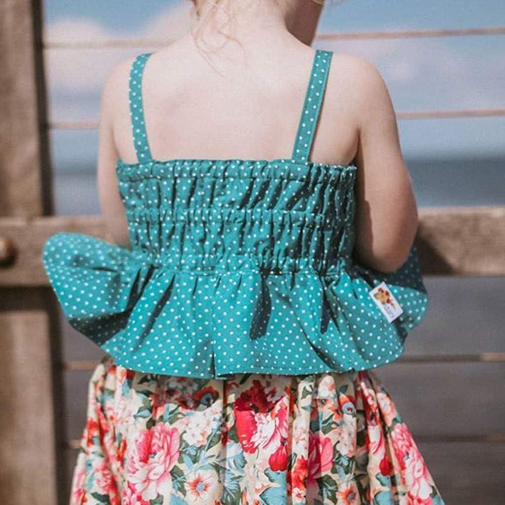 JUTOO Ni/ñas peque/ñas sin Mangas Dot Straps Camisa Tops Falda Floral Conjuntos de Ropa 90,100,110,120,130