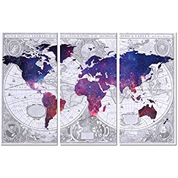 Amazon ezon ch modern art general world map black background visual art decor abstract vintage world map double images picture galaxy map canvas prints home wall decor framed and stretched wall art 3 pieces medium gumiabroncs Gallery