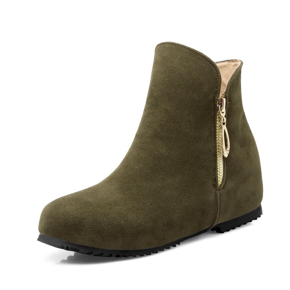 Kurze Winter Stiefel von Frauen runder erhöht, runder Frauen Kopf Keil und Gummi unten Military Grün 1b4bb3