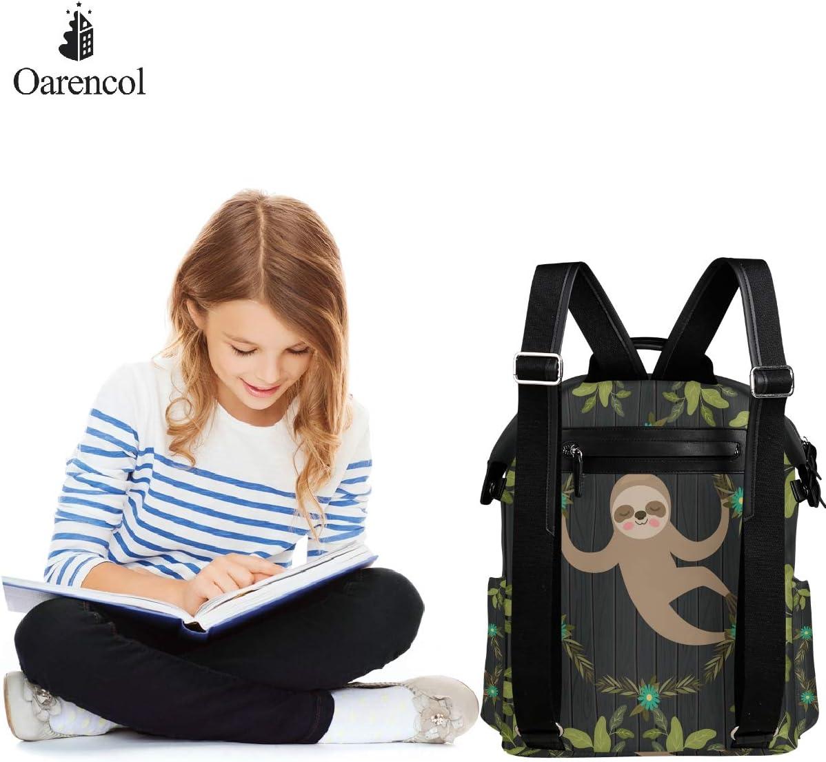 Oarencol Sloth Flower Garland Plank Green Leaves Cartoon Cute Animal Backpack School Book Bag Travel Hiking Camping Laptop Daypack