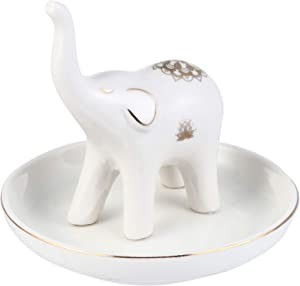 Brocarp Ring Holder Ceramic Jewelry Dish, White Elephant Gifts for Women, Trinket Tray Ring Earring Organizer, Perfect for Home Decor Wedding Engagement Mother's Day Christmas Birthday Valentine's Day Gift, for Mom Daughters Sister Best Friends (White Elephant)