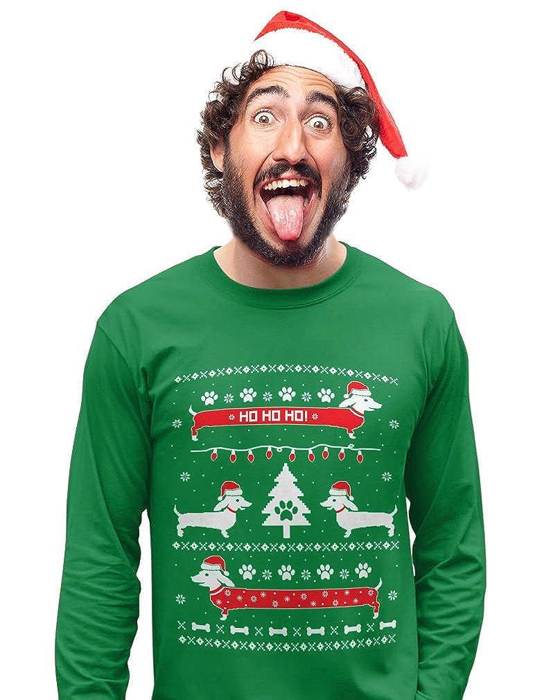 Funny Dachshund Snow Ho Ho Ho Ugly Christmas Sweater Long Sleeve T-Shirt