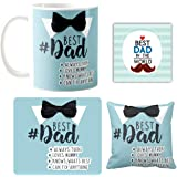 Yaya Cafe Birthday Gifts for Father, Bowtie Best Dad Combo Set of 4 Mug-Coaster-Cushion Cover-Mousepad
