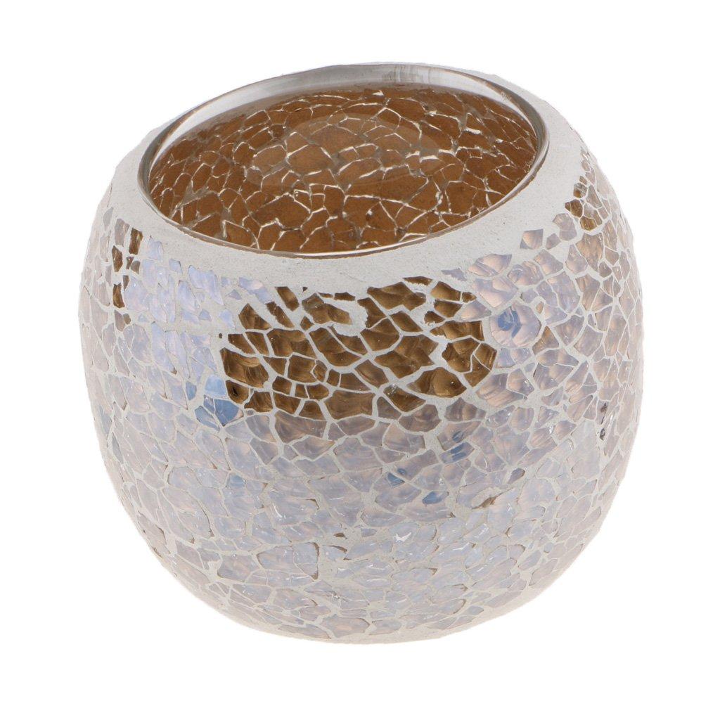 Fenteer Glow in Gark - Mosaic Glass Votive Tealight Candle Holder Candelabra Home Tabletop 3inch Dia - #1, 5.8cm Dia