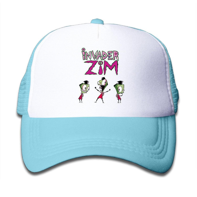 Matthe Youth Children Girl Boy Kids 3D Printed Pattern Invader Zim Unisex Half Mesh Adjustable Baseball Cap Hat Snapback Black